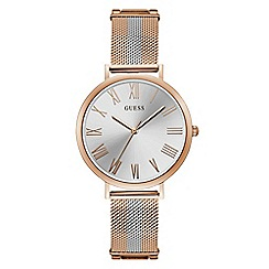 Guess - Ladies rose gold and silver analogue bracelet watch W1155L4