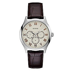 Guess - Men's brown leather strap watch W1130G2