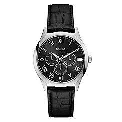 Guess - Men's black leather strap watch W1130G1