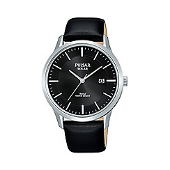 Pulsar - Men's Black 'Solar' Analogue Leather Strap Watch PX3163X1