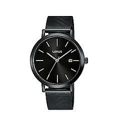 Lorus - Men's Black Analogue Mesh Bracelet Watch RH943JX9