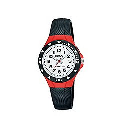 Lorus - Kid's Black and Red 'Youth' Analogue Silicone Strap Watch R2357MX9