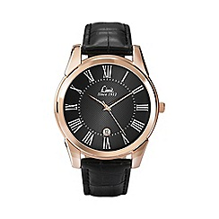 Limit - Men's rose gold plated black strap watch 5454.02