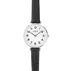 Limit - Ladies black Mother-of-Pearl analogue strap watch