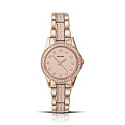 Sekonda - Ladies rose gold plated stone set bracelet watch 2034.28