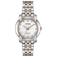 Citizen - Ladies Silver and Gold Eco Drive Analogue Bracelet Watch EM0716-58A