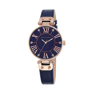 Anne Klein Ladies navy leather rose gold watch 10 ...