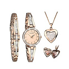 Sekonda - Ladies Rose Gold Watch, Bracelet and Locket Gift Set 2533.76