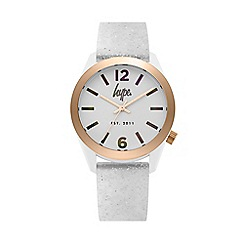 Hype - Unisex White Glitter Analogue Silicone Strap Watch HYL004S