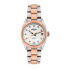 Rotary - Ladies silver and rose gold analogue bracelet watch LB02662/02