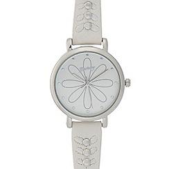 Mantaray - Ladies silver petal analogue watch