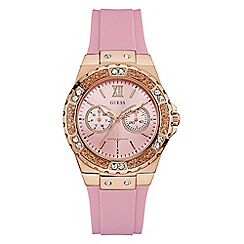 Guess - Ladies Pink Silicone Strap Watch W1053L3