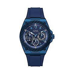 Guess - Men's Blue Silicone Strap Watch W1049G7