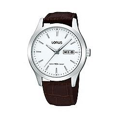 Lorus - Men's brown round leather strap watch rxn29dx9
