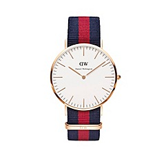 Daniel Wellington - Gents rose gold oxford navy/red nato strap watch 0101dw