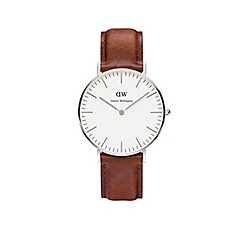 Daniel Wellington - Unisex silver 'St Andrews' brown leather strap watch 0607dw