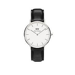 Daniel Wellington - Unisex silver 'Sheffield' black leather strap watch 0608dw