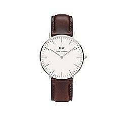 Daniel Wellington - Unisex silver 'Bristol' brown leather strap watch 0611dw