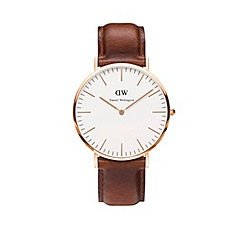 Daniel Wellington - Gents rose gold St Mawes brown leather strap watch 0106dw