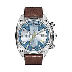 Diesel - Men's 'Overflow' blue dial & brown leather strap watch dz4340