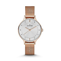 Skagen - Rose gold tone 'Anita' stainless steel mesh watch skw2151