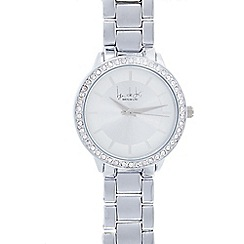 Principles - Ladies silver plated crystal bezel round watch