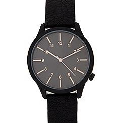 Red Herring - Men's black grained strap watch