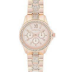 Red Herring - Rose gold crystal bezel watch