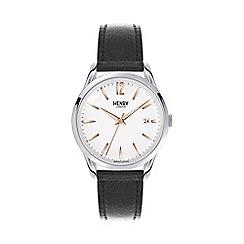 Henry London - Unisex black 'Highgate' leather strap watch hl39-s-0005