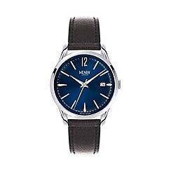 Henry London - Unisex black 'Knightsbridge' leather strap watch hl39-s-0031