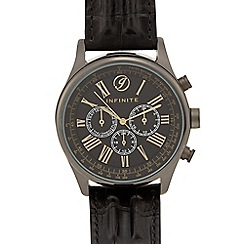 Infinite - Black croc-effect multi dial watch