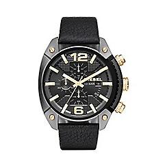 Diesel - Men's 'Overflow' black dial leather strap watch dz4375