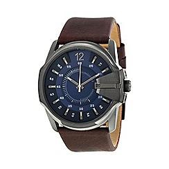 Diesel - Men's 'Master Chief' blue dial brown leather strap watch dz1618