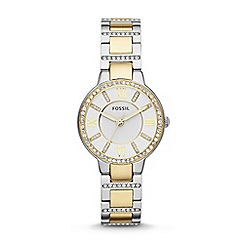Fossil - Ladies gold and silver 'Virginia' stainless steel bracelet watch es3503