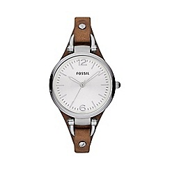 Fossil - Ladies brown slim strap watch es3060