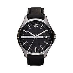Armani Exchange - Men's black leather strap watch ax2101