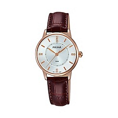 Pulsar - Ladies Rose gold plated strap watch ph8180x1
