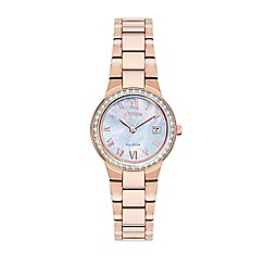 Citizen - Ladies rose gold 'Eco-Drive' analog bracelet watch EW1993-50D