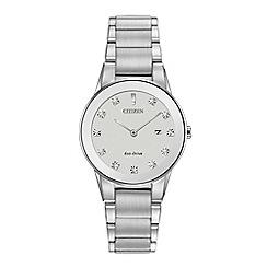 Citizen - Ladies silver 'Eco-Drive' analog bracelet watch GA1050-51B