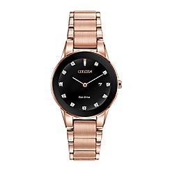 Citizen - Ladies rose gold 'Eco-Drive' analog bracelet watch GA1058-59Q