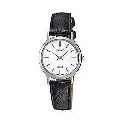 Seiko - Ladies black solar leather watch sup299p1