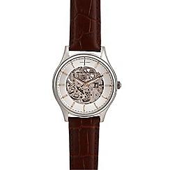 J by Jasper Conran - Men's brown skeleton analogue watch