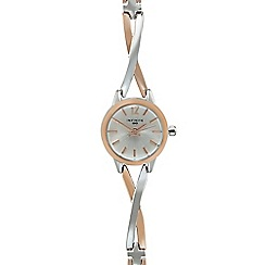 Infinite - Ladies rose gold plated cross over analogue watch