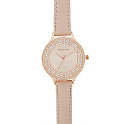 Red Herring - Ladies pink stone embellished analogue watch