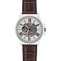 Infinite - Men's brown leather mock skeleton watch