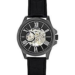 Infinite - Men's black leather mock skeleton watch
