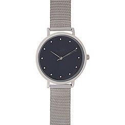 Principles - Silver crystal marker mesh watch