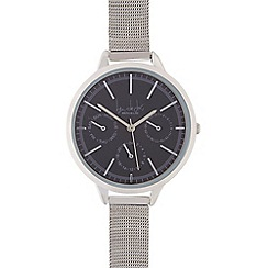 Principles - Silver multi dial steel mesh watch