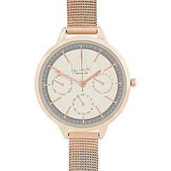 Principles - Rose gold multi dial steel mesh watch