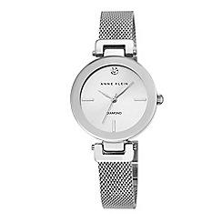 Anne Klein - Womens silver tone mesh watch with a diamond ak/n2473svsv